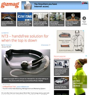 Giz Mag review on the NT3 Throat Mic