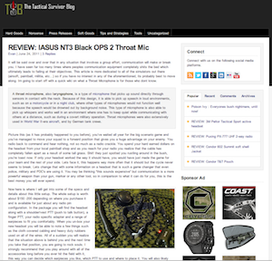 Tactical Survivor Blog Review on the NT3 Black Ops 2 Throat Mic